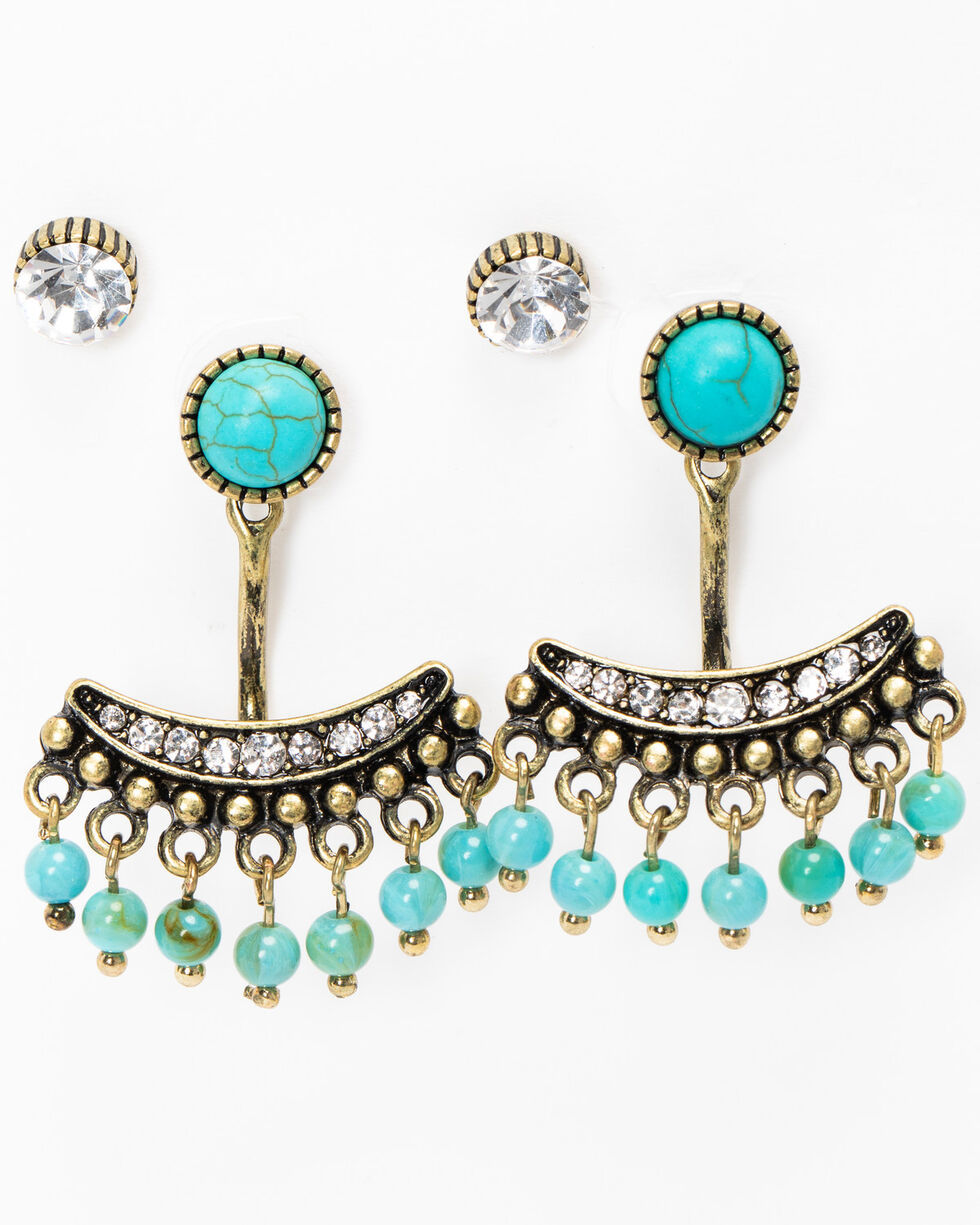 Idyllwind Women's Crystal and Turquoise Stud Jacket Earring Set, Gold, hi-res