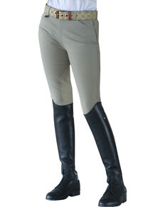 Ovation Girls' Euroweave Sidezip Breeches, Beige, hi-res