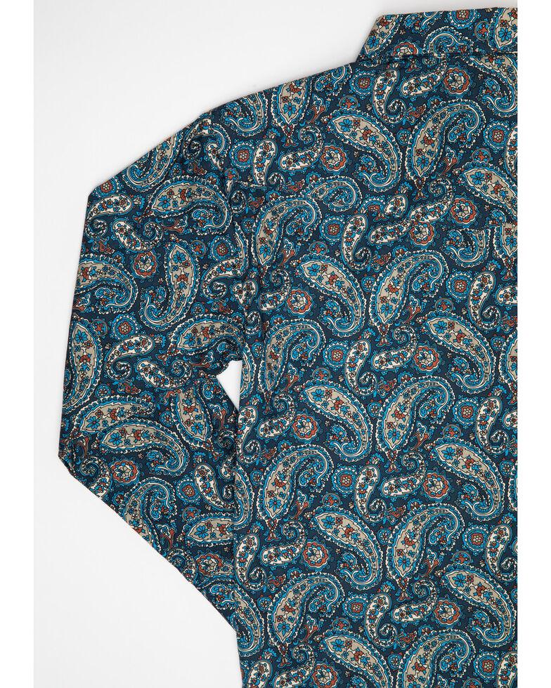 Roper Boys' Amarillo Normandy Paisley Print Long Sleeve Western Shirt , Blue, hi-res