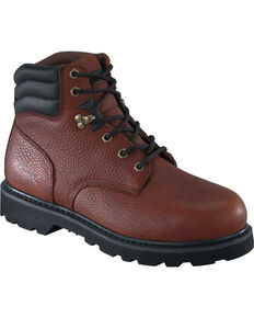 "Knapp Men's Backhoe 6"" Work Boots - Steel Toe, Brown, hi-res"