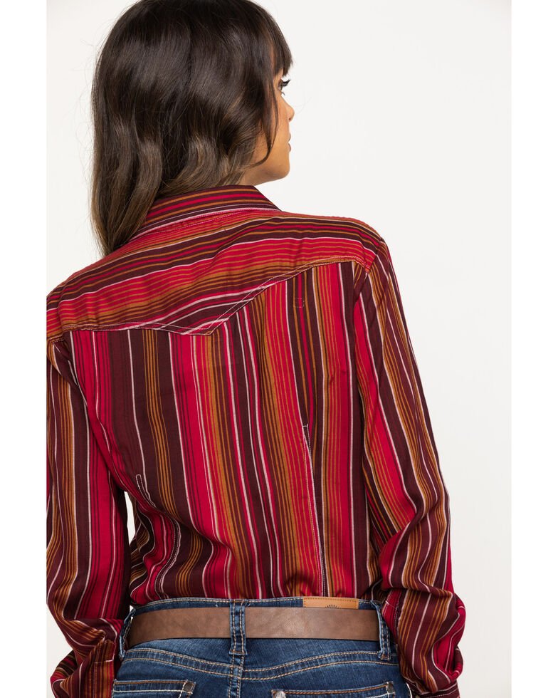 White Label by Panhandle Women's Serape Challis Long Sleeve Shirt, Multi, hi-res