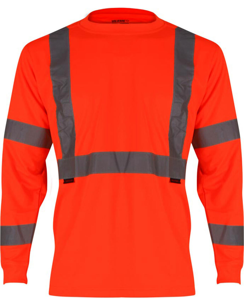 Wolverine Men's High Visibility Reflective Long Sleeve Polyester T-shirt, Orange, hi-res