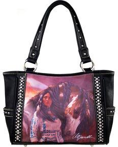Montana West Horse Art Concealed Handgun Handbag-Laurie Prindle, Black, hi-res