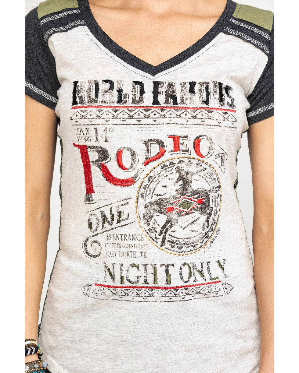 White Label by Panhandle Women's World Famous Rodeo Raglan Top, Heather Grey, hi-res