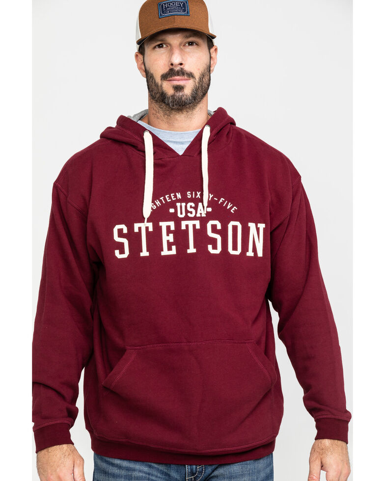 Stetson Men's USA Stetson Graphic Fleece Hooded Sweatshirt , Red, hi-res