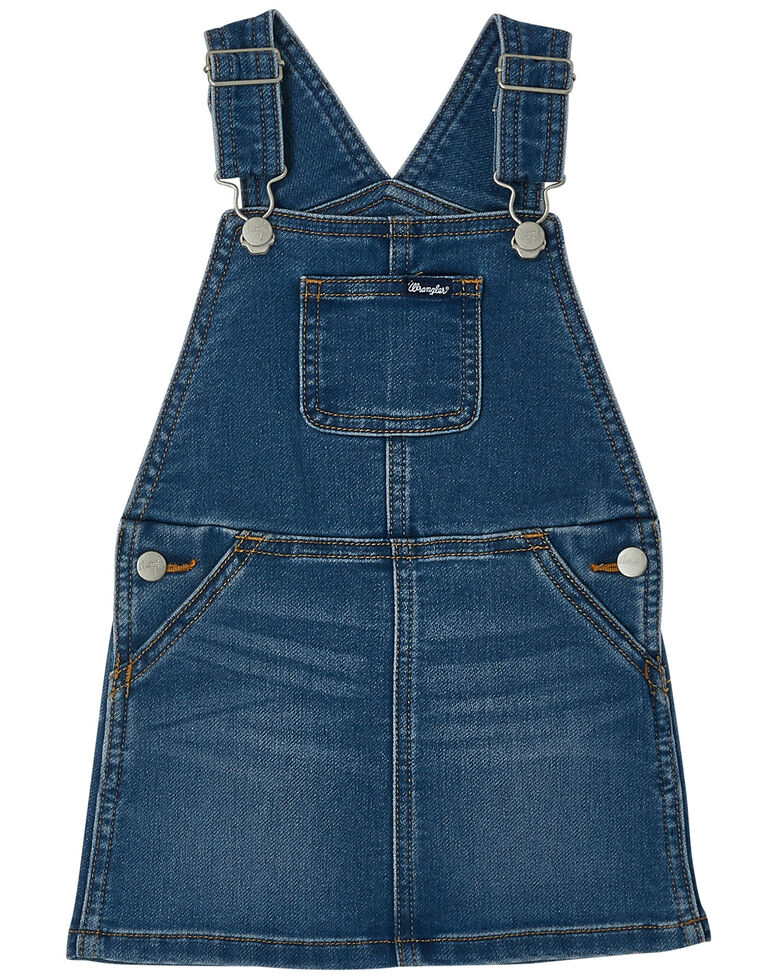 Wrangler Toddler Girls' Denim Overall Dress, Blue, hi-res