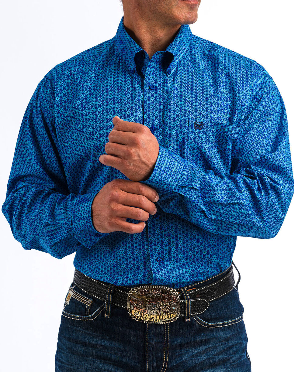 Cinch Men's Blue Diamond Print Western Shirt , Blue, hi-res