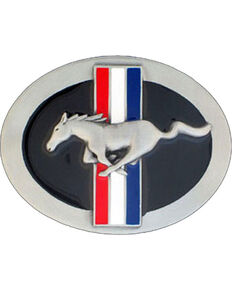 Western Express Men's Silver Ford Mustang Belt Buckle , Silver, hi-res