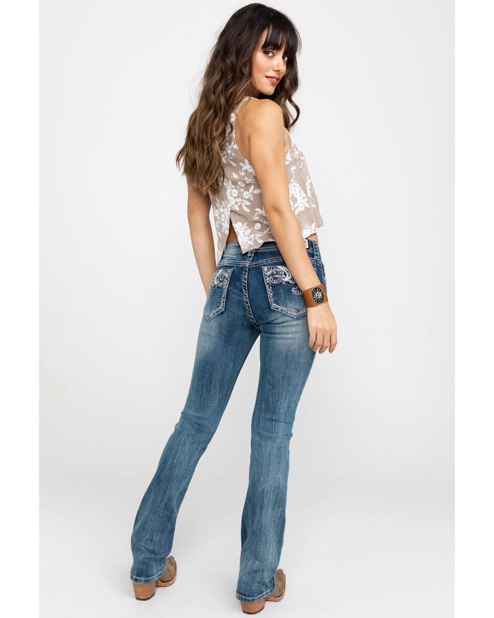 Grace In LA Women's Paisley Embroidered Pocket Light Skinny Jeans  , Blue, hi-res
