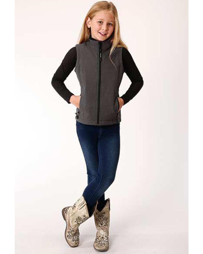Roper Girls' Grey Soft Shell Fleece Vest, Charcoal, hi-res