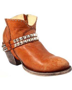 Corral Women's Studs and Harness Ankle Boots - Round Toe, Brown, hi-res