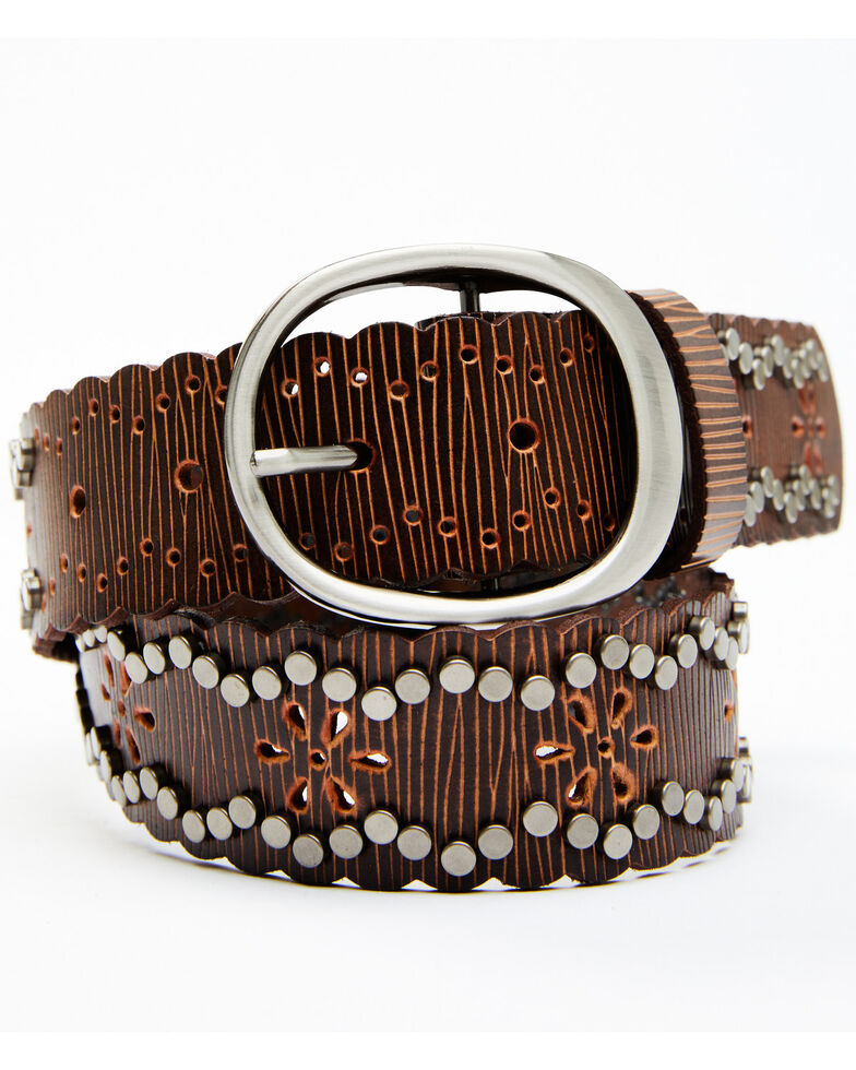 Shyanne Women's Studded Edge Starburst Belt, Brown, hi-res