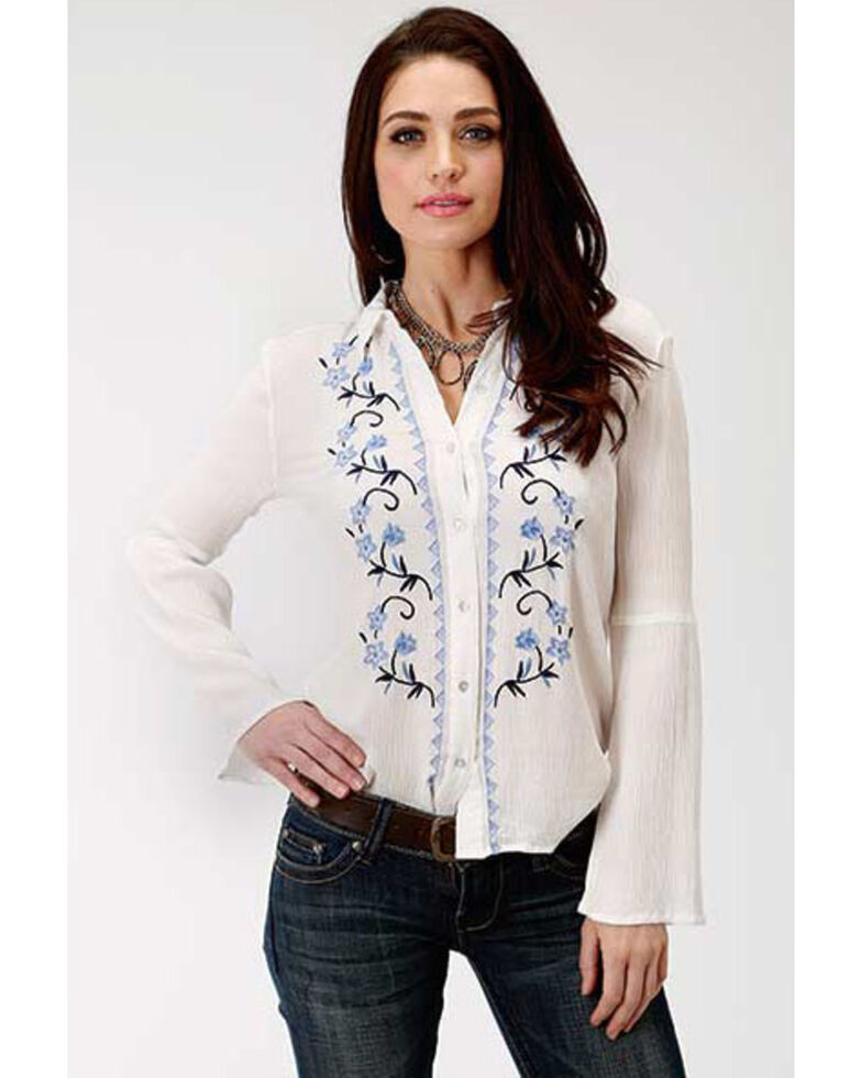 Studio West Women's Embroidered Bell Sleeve Top, White, hi-res