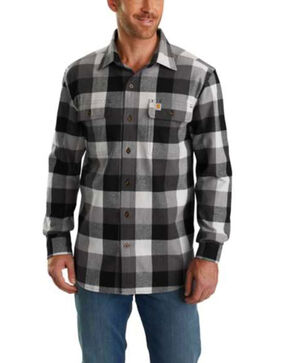 Carharrt Men's Hubbard Plaid Flannel Work Shirt , Grey, hi-res