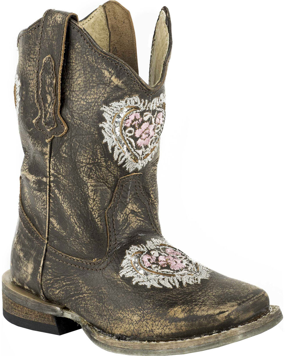 Roper Toddler Girls' Destiny Floral Heart Inside Zip Cowgirl Boots - Square Toe, Dark Brown, hi-res