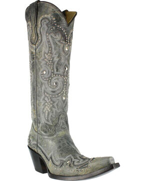 Corral Women's Stud and Embroidered Western Boots, Black, hi-res