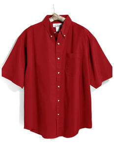 Tri-Mountain Men's Red Solid Recruit Short Sleeve Work Shirt - Tall, Red, hi-res