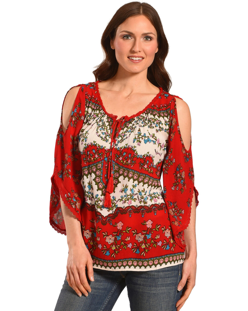 Bila Women's Red Cold Shoulder Angel Sleeve Blouse , Red, hi-res
