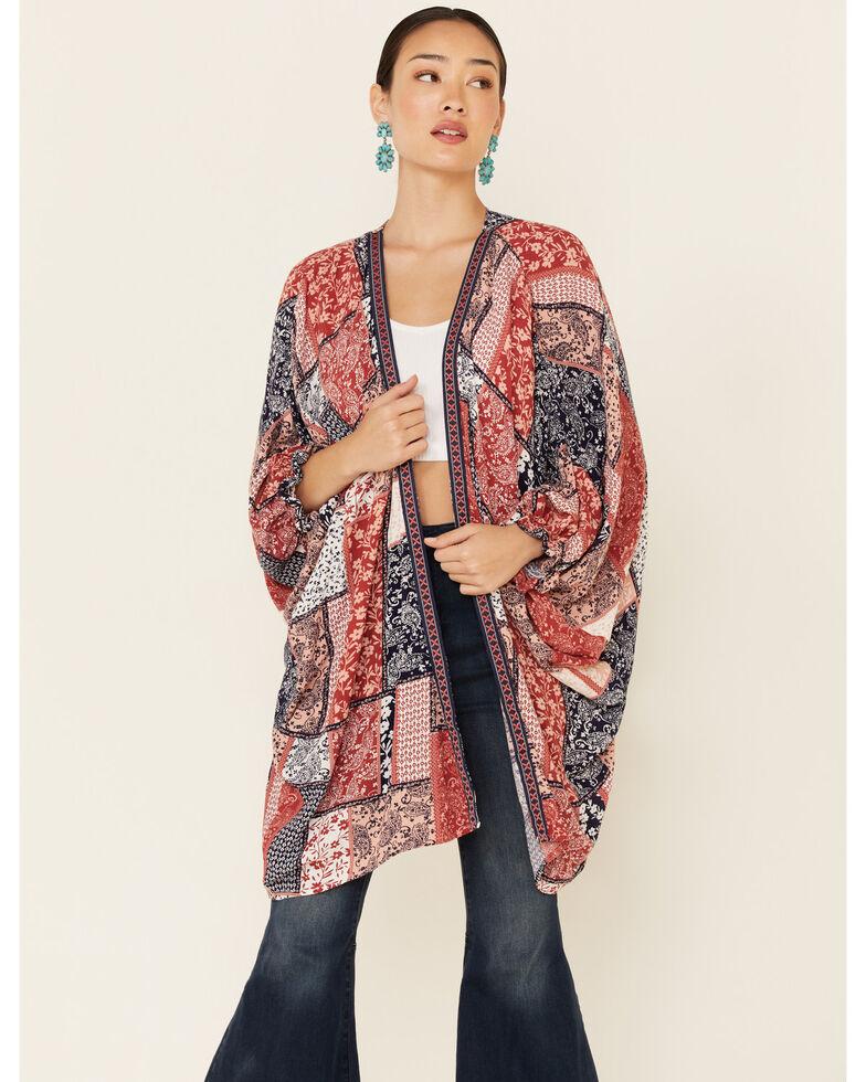 Ariat Women's Multi Beth Patchwork Wrap Kimono , Multi, hi-res