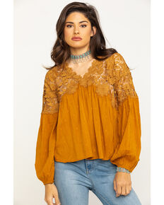 Free People Women's Lina Lace Top, Bronze, hi-res