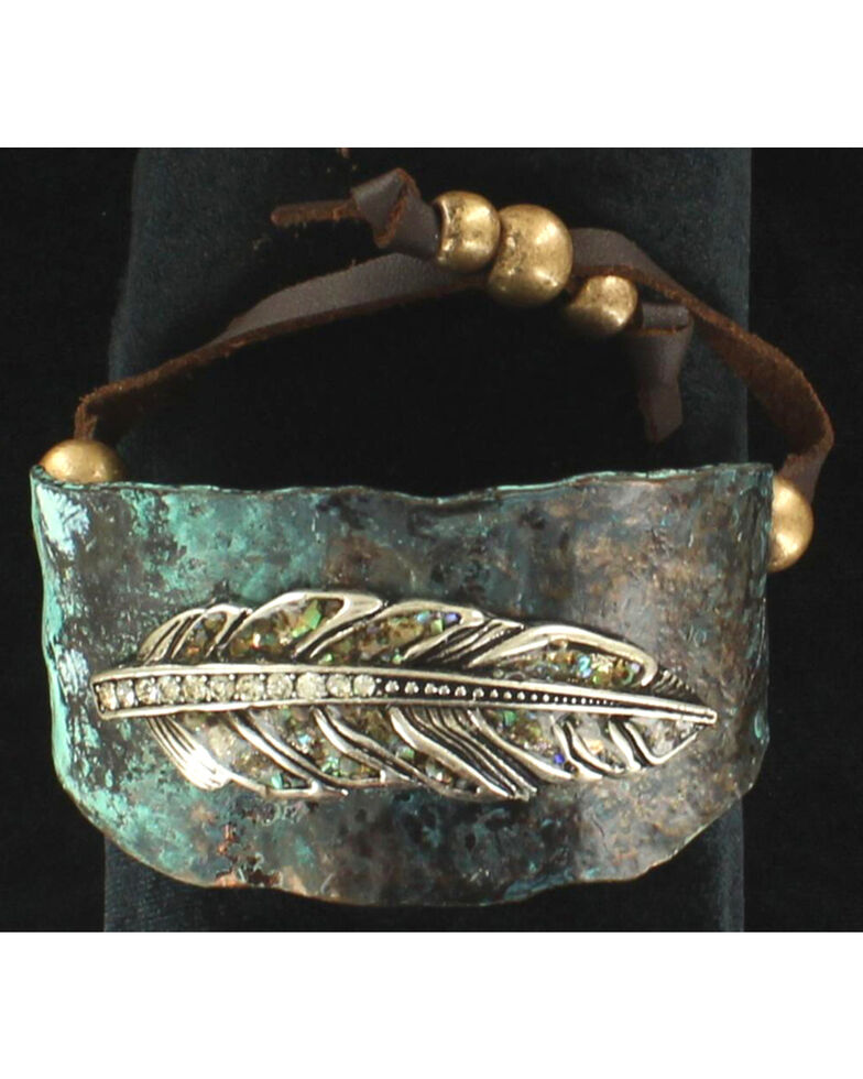Blazin Ro Feather Cuff Bracelet Turquoise Hi Res