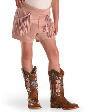 Idol Mind Girls' Faux Suede Fringe Shorts, Pink, hi-res