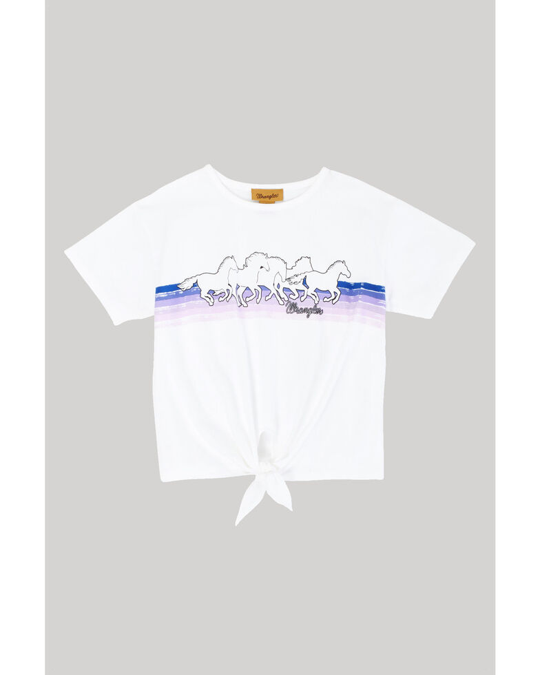 Wrangler Girls' White Horse Tie-Up Tee, White, hi-res