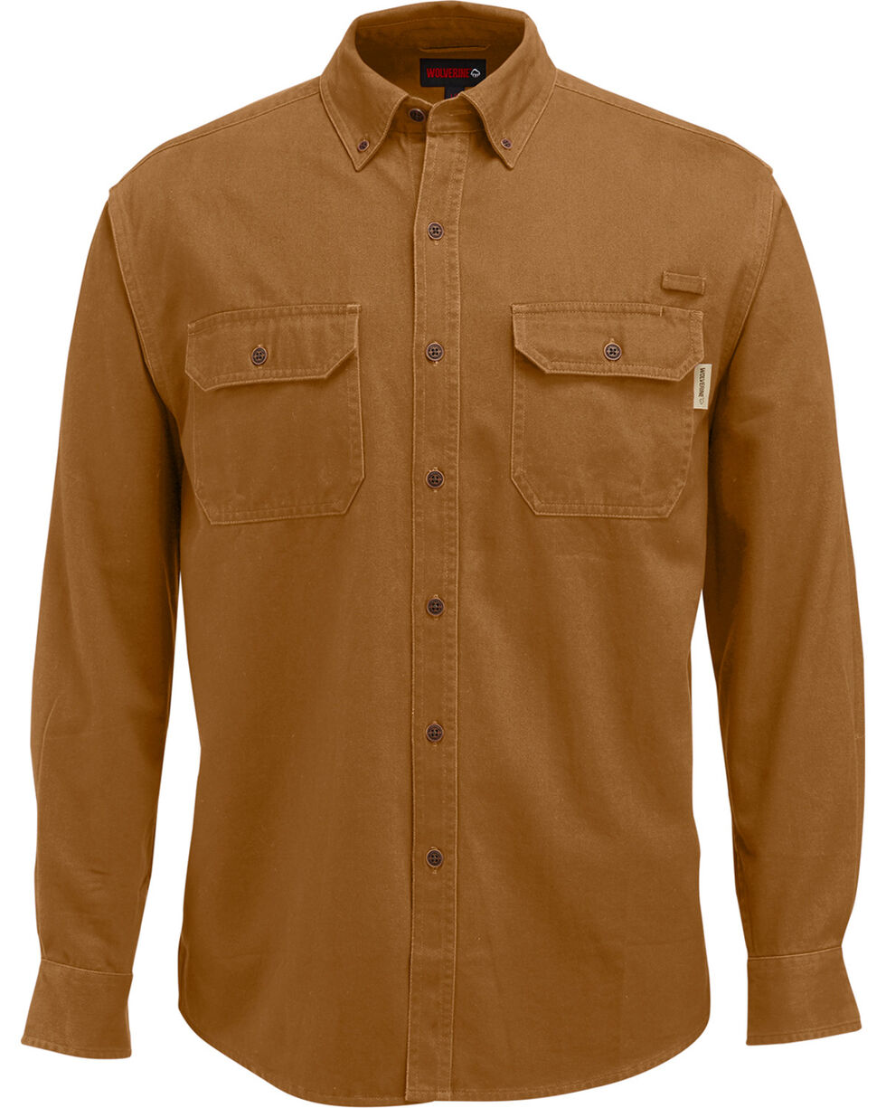 Wolverine Men's Fletcher Long Sleeve Twill Shirt, Bark, hi-res