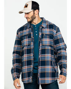 Hawx Men's Navy Sherpa Lined Plaid Zip Front Shirt Work Jacket - Tall , Navy, hi-res