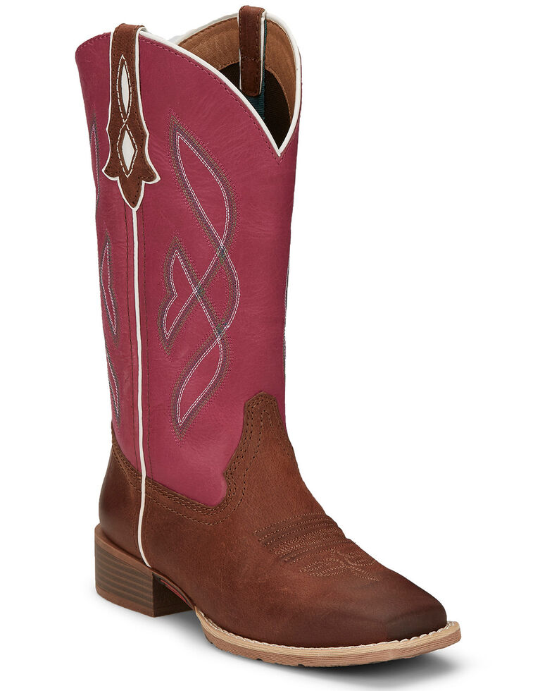 Justin Women's Breakaway Western Boots- Square Toe, Brown, hi-res
