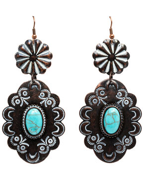 Shyanne Women's Copper & Concho Earrings, Tan/copper, hi-res
