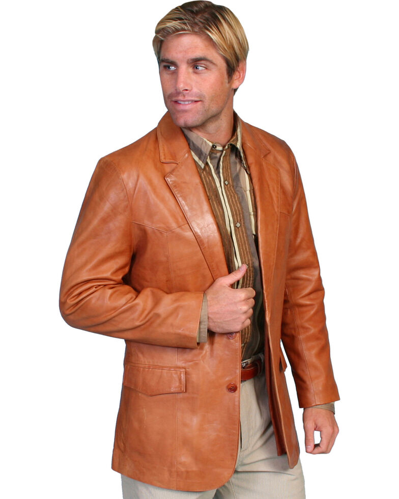 Scully Men's Lamb Leather Blazer - Big and Tall , Chestnut, hi-res