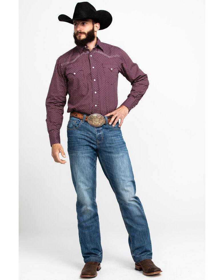 Roper Men's Red Geo Print Snap Long Sleeve Western Shirt , Red, hi-res