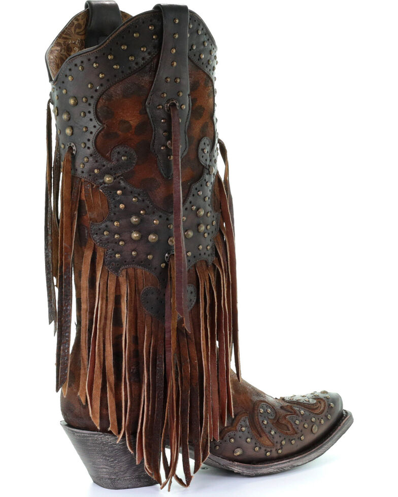 16341a4c1fc2 Zoomed Image Corral Women's Leopard Stud & Fringe Cowgirl Boots - Snip Toe,  Honey, hi-