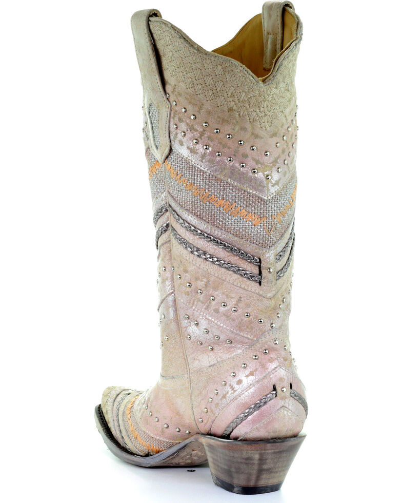 Corral Women's Metallic Embroidery & Studded Cowgirl Boots - Snip Toe, White, hi-res