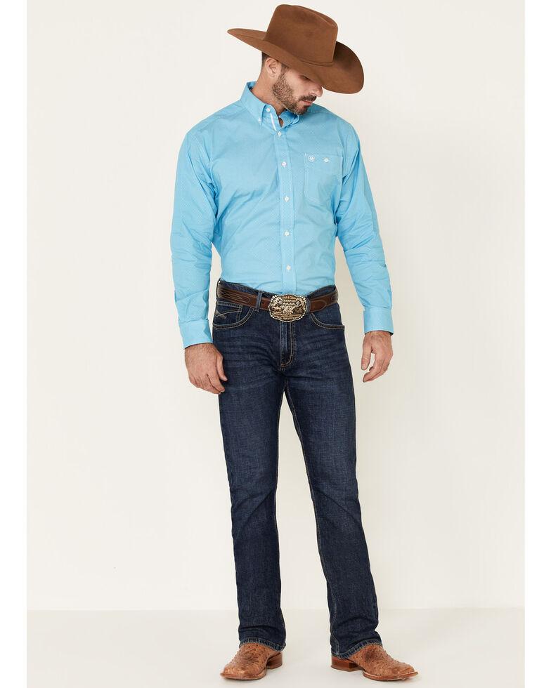 Ariat Men's Hale Stretch Geo Print Long Sleeve Western Shirt , Turquoise, hi-res