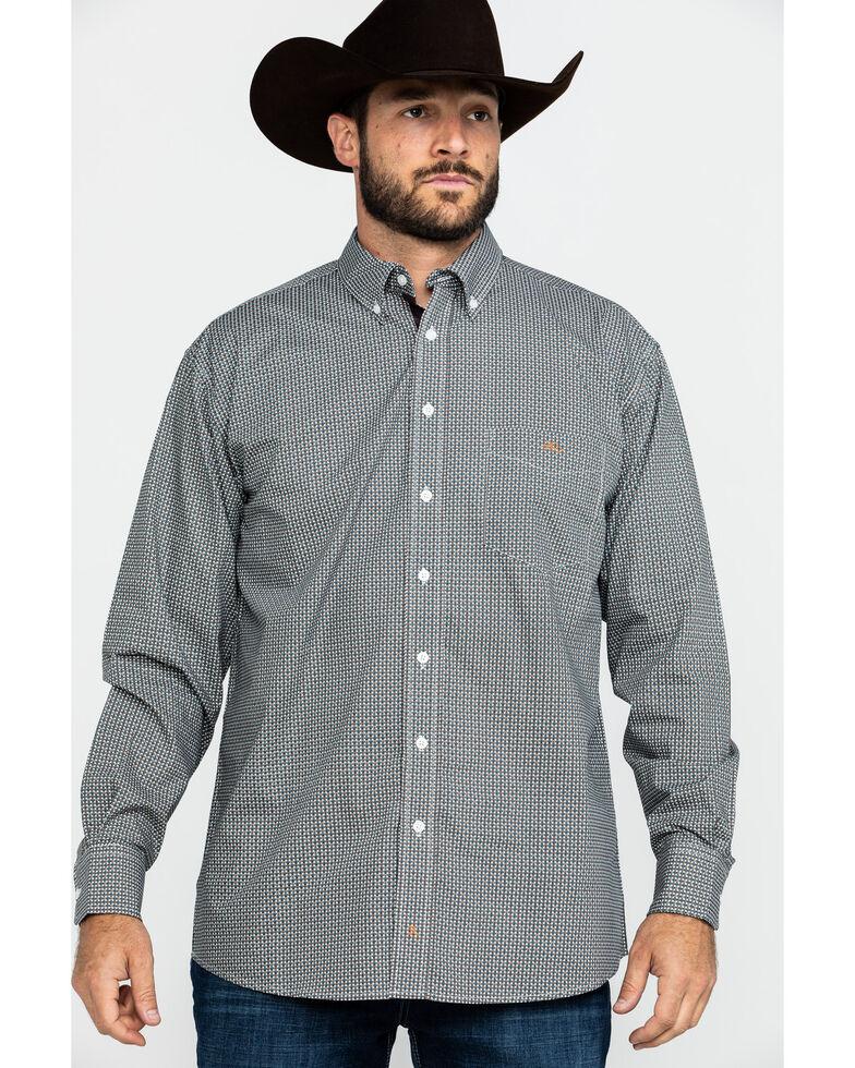 Resistol Men's Bugtussle Geo Print Long Sleeve Western Shirt , Brown, hi-res