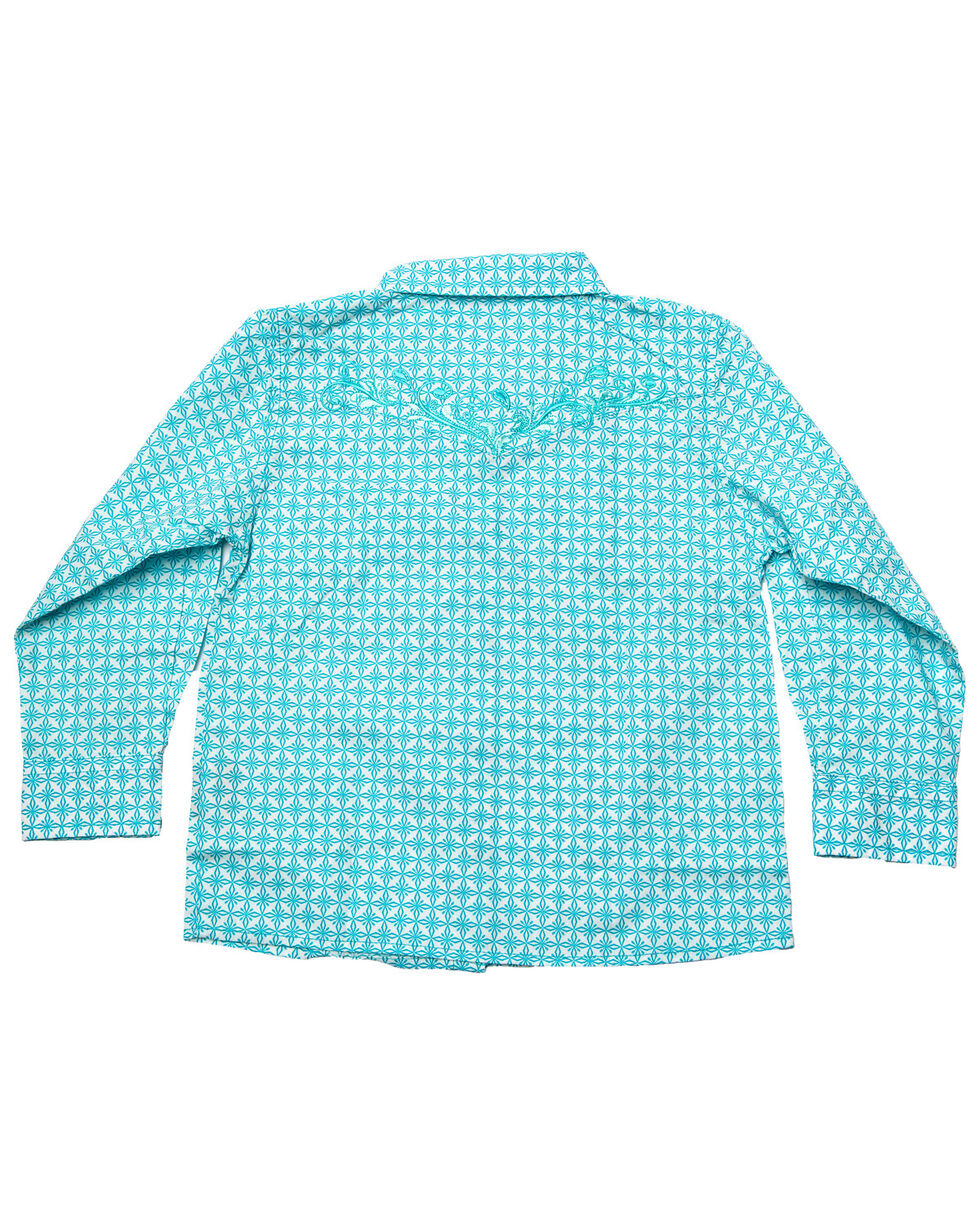 Cowgirl Hardware Toddler Girls' Snowflake Diamond Print Long Sleeve Shirt, Turquoise, hi-res