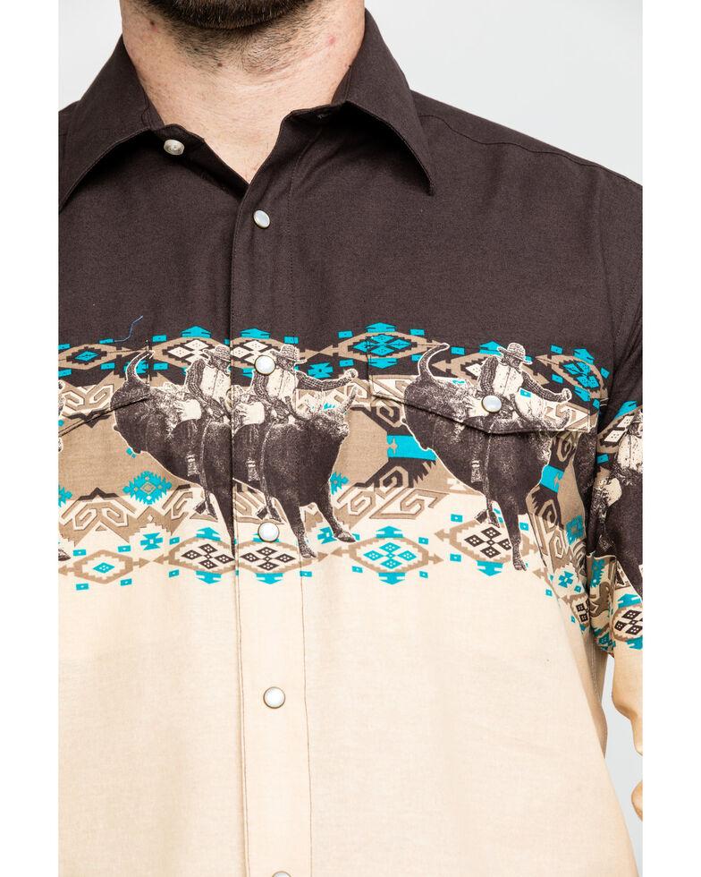Panhandle Men's Aztec Scenic Border Print Long Sleeve Western Shirt , Brown, hi-res