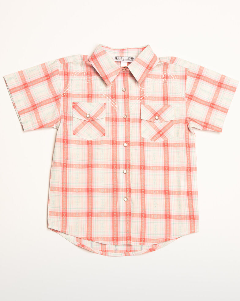 Shyanne Toddler Girls' Plaid Woven Short Sleeve Shirt, Ivory, hi-res