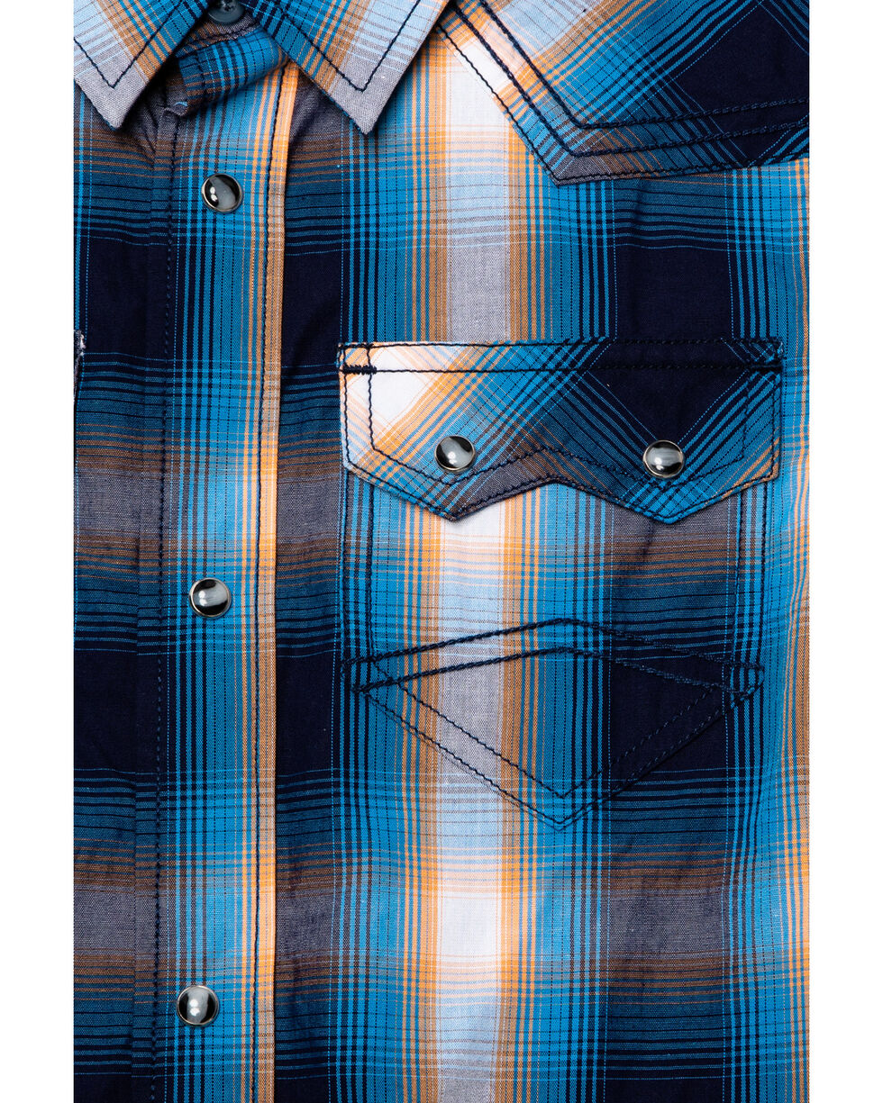 Cody James Boys' Sunset Valley Plaid Short Sleeve Western Shirt , Navy, hi-res