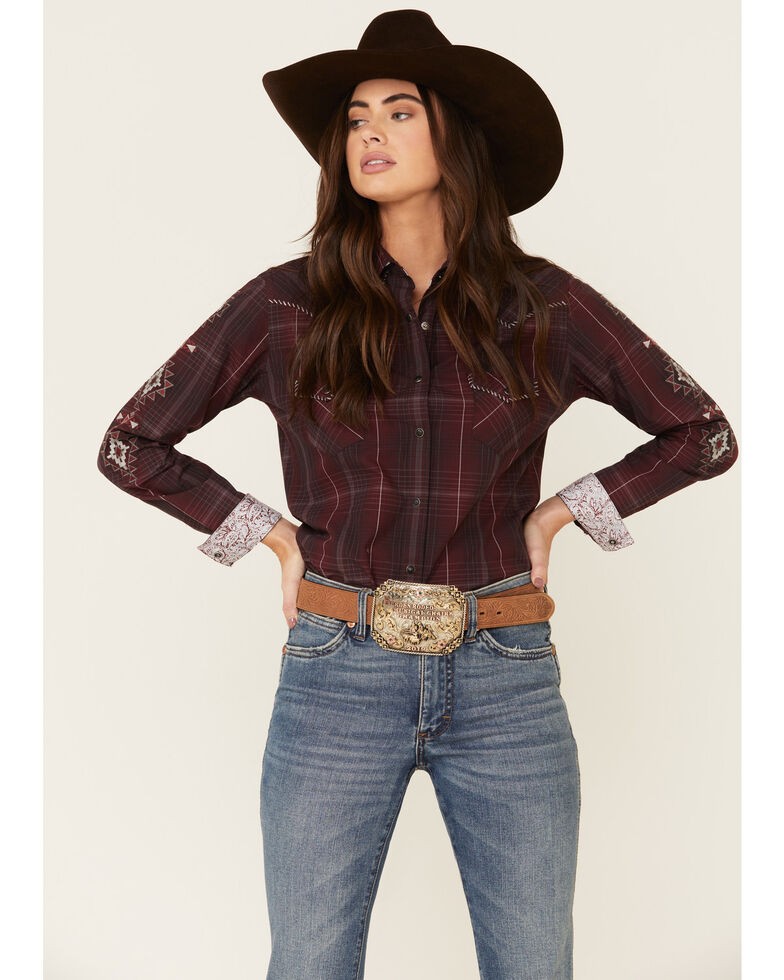 Panhandle Women's Burgundy Large Plaid Embroidered Long Sleeve Western Shirt , Burgundy, hi-res