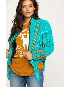 Cripple Creek Women's Turquoise Beaded Suede Fringe Military Jacket , Turquoise, hi-res