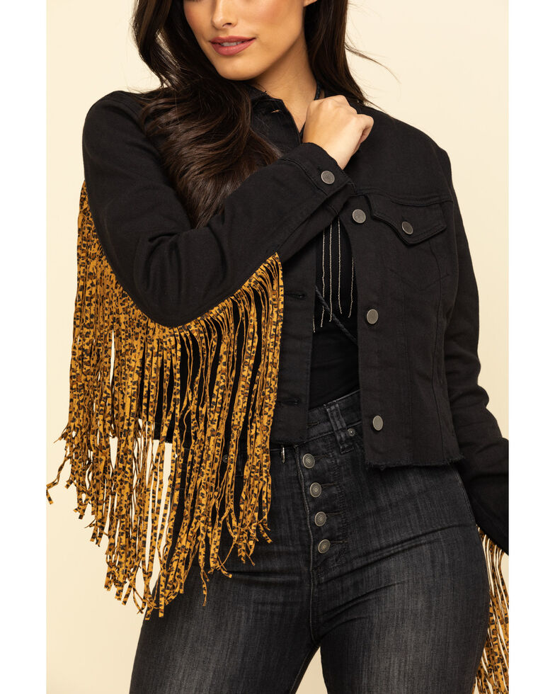 Honey Creek by Scully Women's Leopard Fringe Denim Jacket , Black, hi-res
