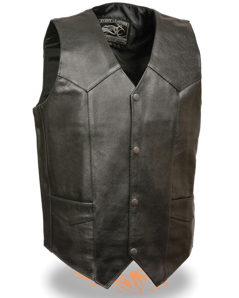 Milwaukee Leather Men's 4X Classic Snap Front Biker Vest, Black, hi-res