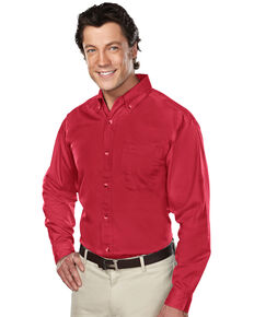 Tri-Mountain Men's Red Professional Twill Long Sleeve Shirt, Red, hi-res