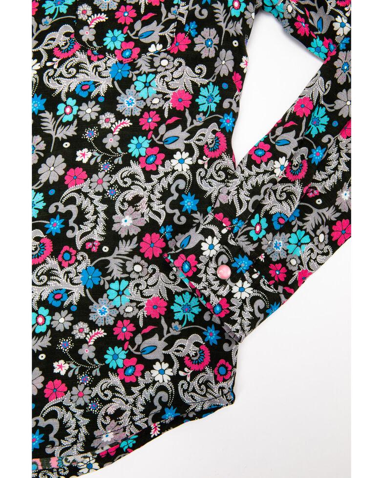 Five Star Girls' Floral Snap Long Sleeve Western Shirt , Black, hi-res