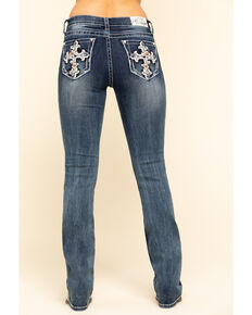 Grace in LA Women's Tropical Floral Cross Bootcut Jeans , Blue, hi-res