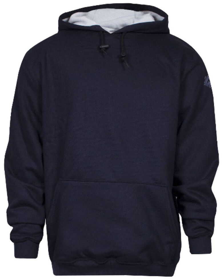 National Safety Apparel Men's Navy FR Heavyweight Lined Hooded Work Sweatshirt - Tall, Navy, hi-res