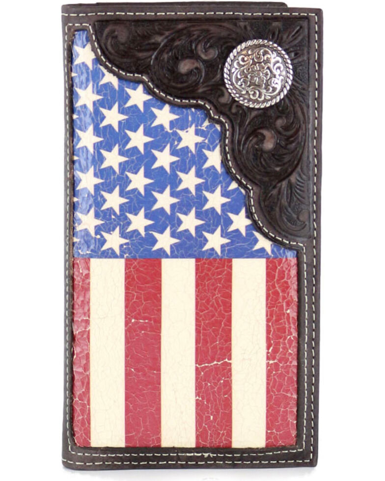 Cody James Men's American Flag Concho Rodeo Wallet , Tan, hi-res